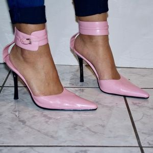 Bakers Bubblegum Pink Pointed Toe Ankle Strap Heel